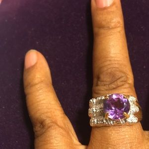 Ring Lavender Amethyst 22 Round Cut Diamonds